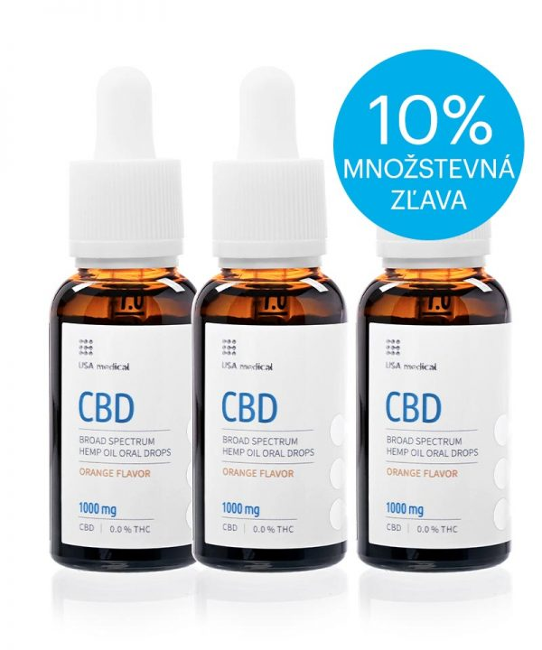 USA medical Oral Drops 1000mg CBD olej 30 ml - 3xset - zlava